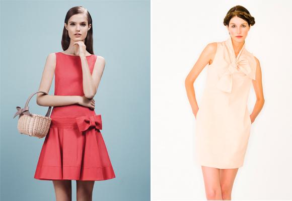 Deux robes courtes corail et rose à noeud habillé