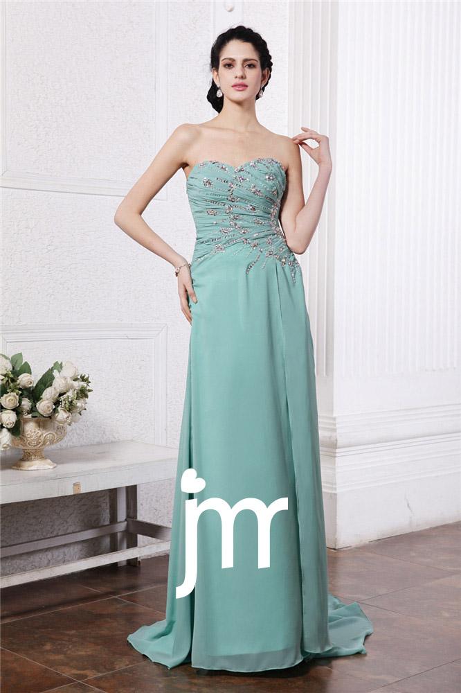 Robe habillée verte sans bretelle strass ornée