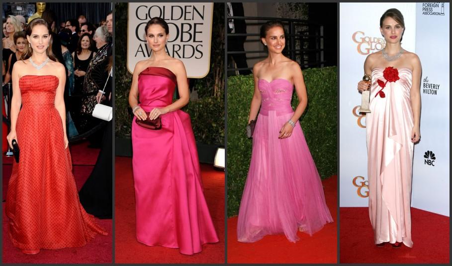 Natalie Portman portant robes habillées rouge