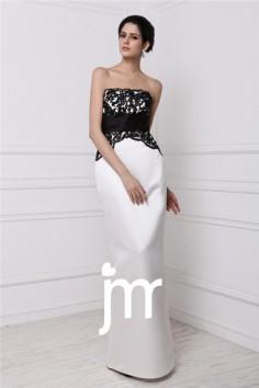 robe soirée blanche bustier avec ruban et dentelle noire