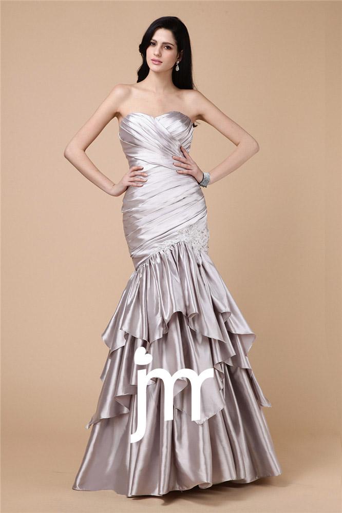 Robe bustier glamour en argent longue sol
