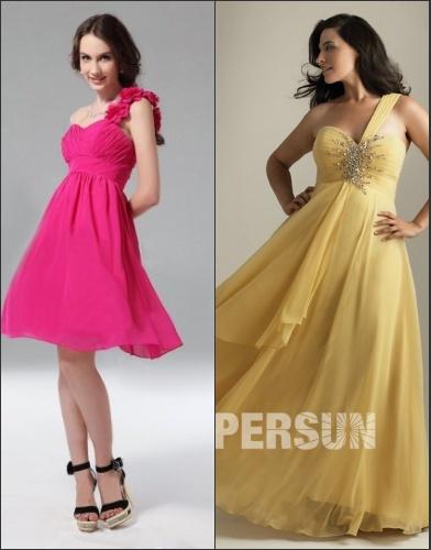 Contraste de robe courte & robe longue pour les femmes formes petites
