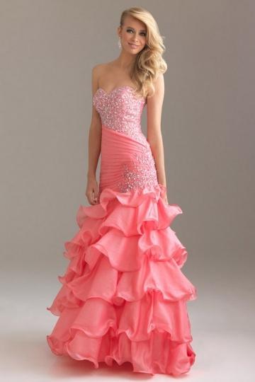 Robe de danse bustier rose style sirène
