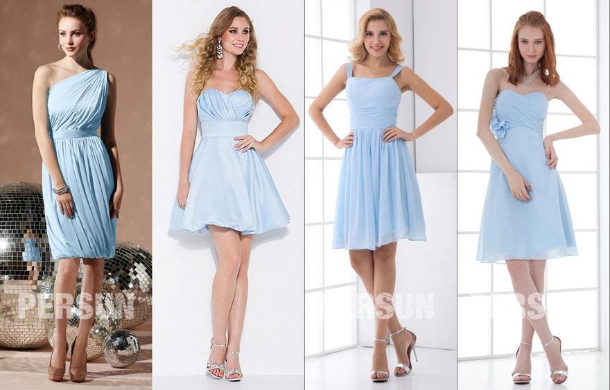 Robes de cocktail bleu ciel pour participer à un mariage