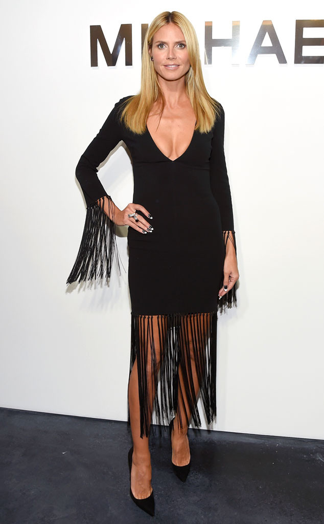 Heidi Klum en robe noire à franges