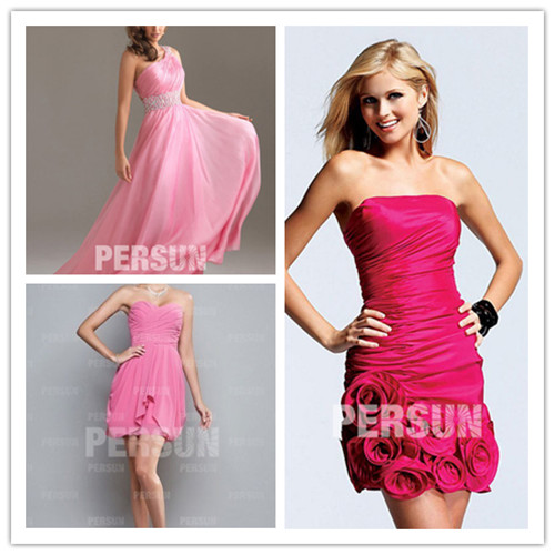 Robe-longue-de-cocktail-chic-à-encolure-oblique-en-mousseline-rose_courte