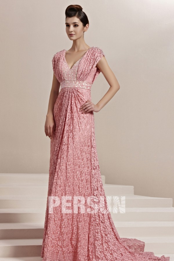 Rose robe en dentelle longue Empire décolleté en V pailletée