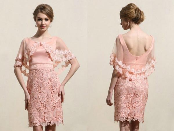 robe-de-cocktail-rose-dentelle-avec-fausse-cape