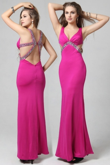 robe-fourreau-fuchsia-en-mousseline
