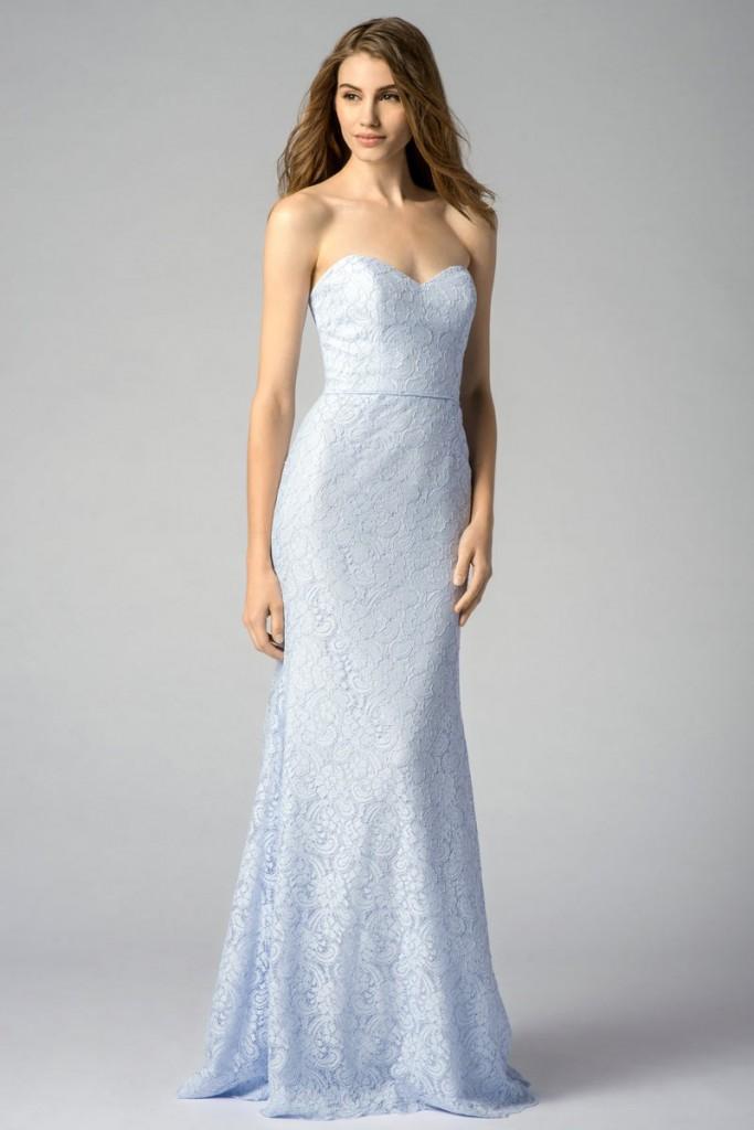 Robe cocktail mariage longue en dentelle ciel bleu Serenity sophistiqué