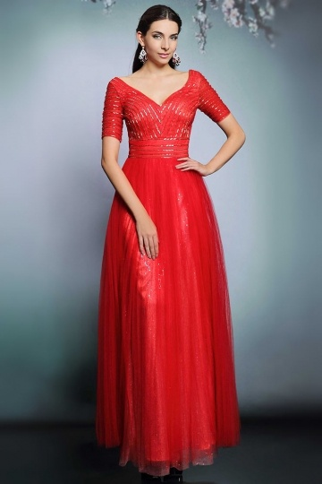 Robe gala rouge col v avec manches courtes
