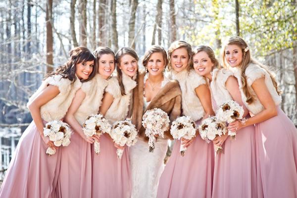 robe demoiselles en rose en hiver