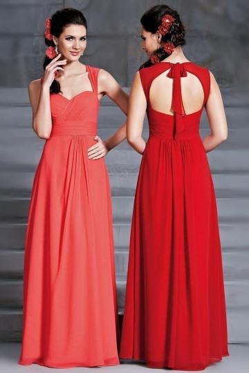 Robe longue rouge bustier en cœur avec bretelles dos découp