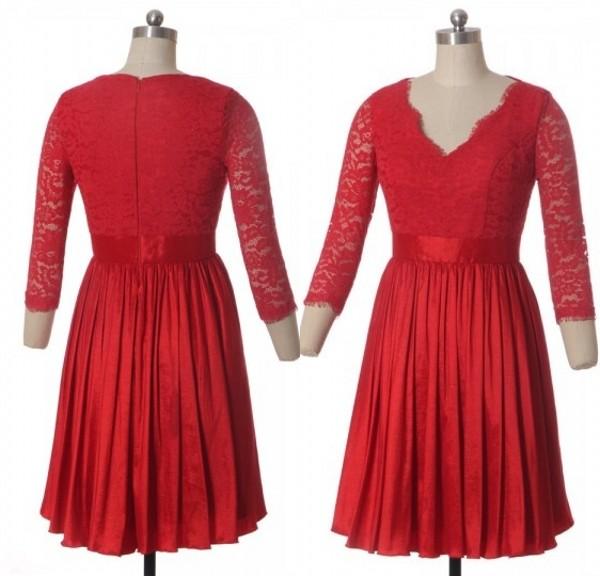 Robe rouge courte en dentelle décolleté V à manches 2016