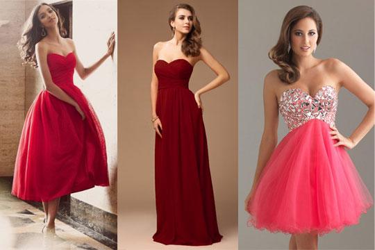 Robe de soirée en nuance de rouge
