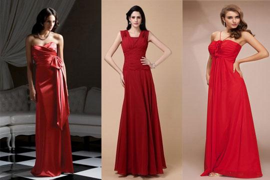 Robes de soirée longue en nuance rouge