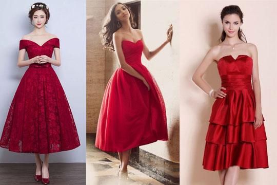Robe de soirée rouge mi longue