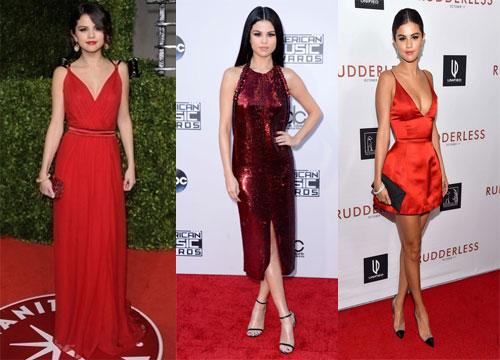 Robes rouge de Selena Gomez sur tapis rouge