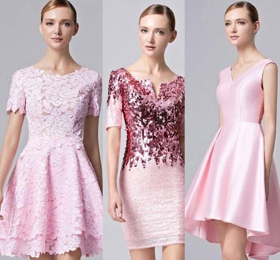 Robe de soirée rose courte