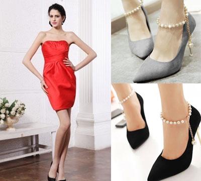 Robe rouge chaussure bleu marine