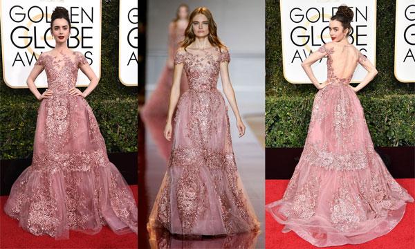 Robe de soirée rose longue en dentelle