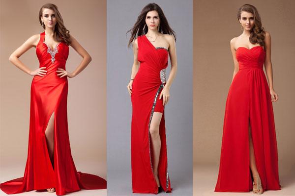 Robe de soirée rouge longue fendue