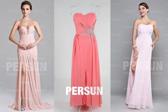 Robe de soirée rose longue bustier avec fente