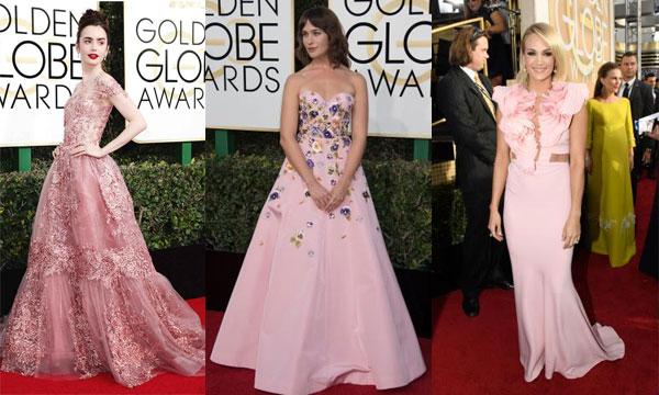 Robe de soirée rose longue sur tapis rouge Golden Globes 2017