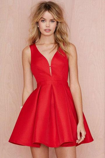 Robe rouge sexy pour nuit de bal col en V