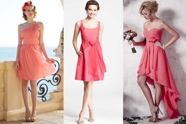 Robe couleur corail pour demoiselle d'honneur