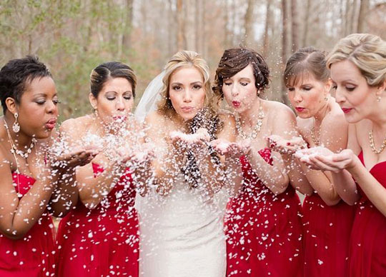 Demoiselles d'honneur en robe de soirée rouge bustier coeur