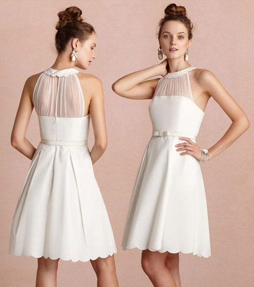 Petite robe blanche pour soirée encolure illusion