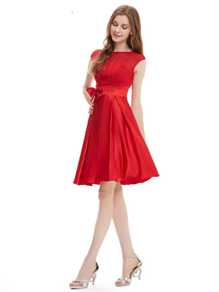 Robe de soirée rouge courte pour demoiselle d'honneur