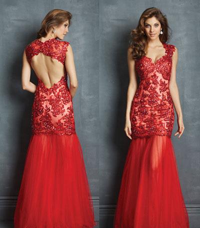 Robe cérémonie rouge sirène orné de bijoux dos découpé