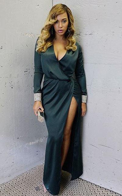 Sexy robe verte longue avec manche