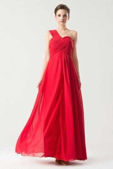 robe rouge asynétrique empire pour mariage