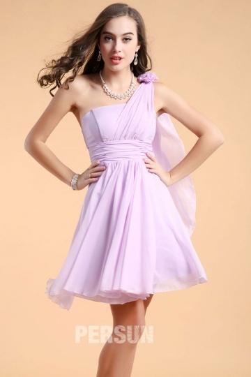 robe de demoiselle d'honneur asymétrique en mousseline