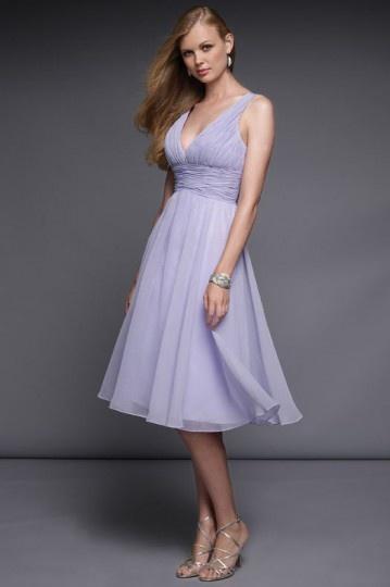 Robe mi longue violette pour témoin mariage