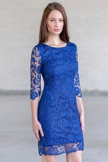 robe en dentelle bleue pour cocktail mariage