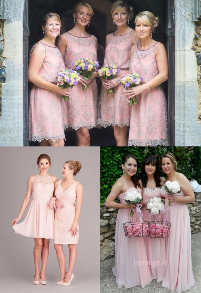 robes roses pour demoiselles d'honneur