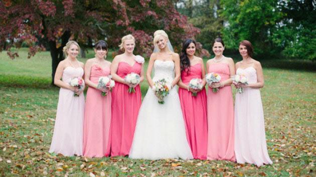 robes demoiselles d'honneur longues en nuance rose