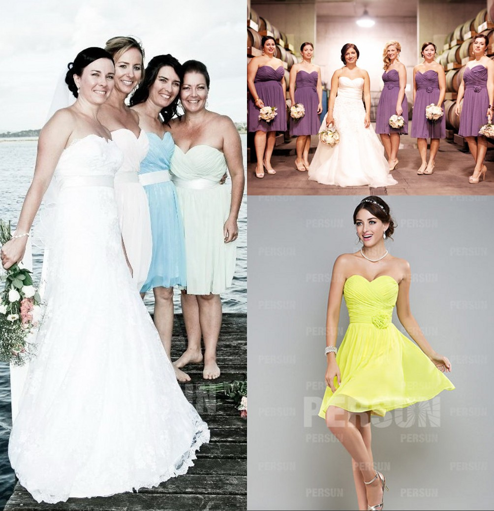 robes demoiselles d'honneur courtes orné de fleurs en mousseline