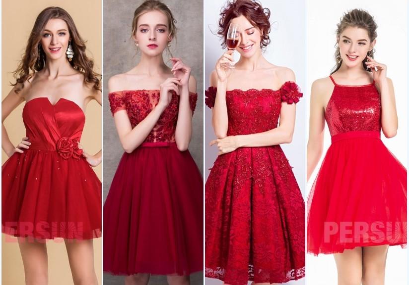 robes de bal rouge courtes 2018