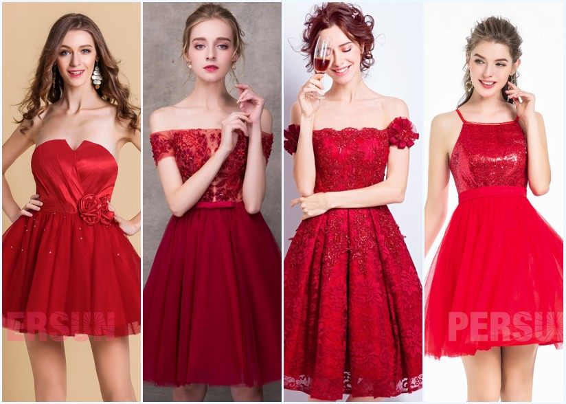 robes de bal rouge courtes 2018