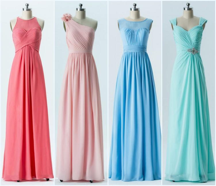 robes longues plissées pour demoiselles d'honneur