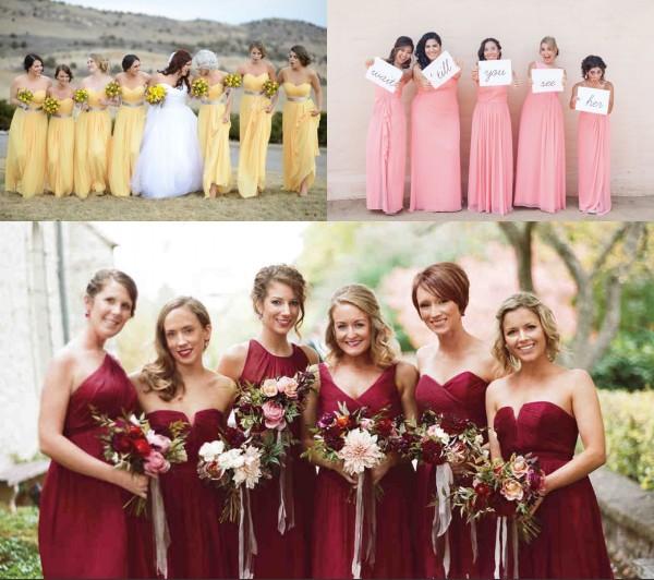 longues robes demoiselles d'honneur en mousseline