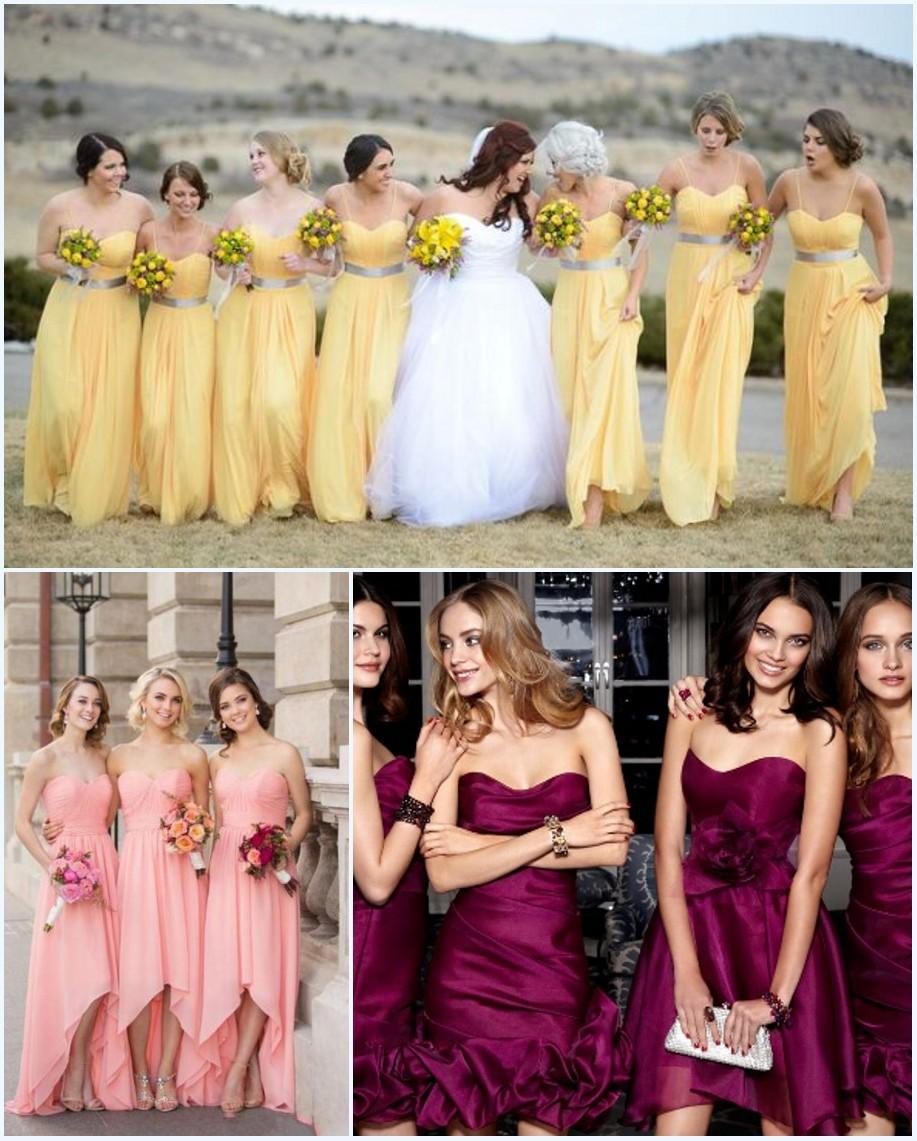 robes bustier pour demoiselles d'honneur en différente longueur