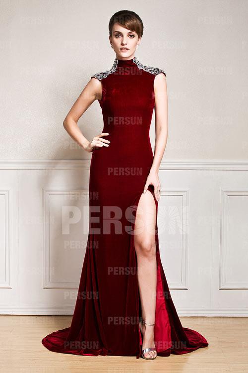 robe de soirée bordeaux avec fente latérale dos