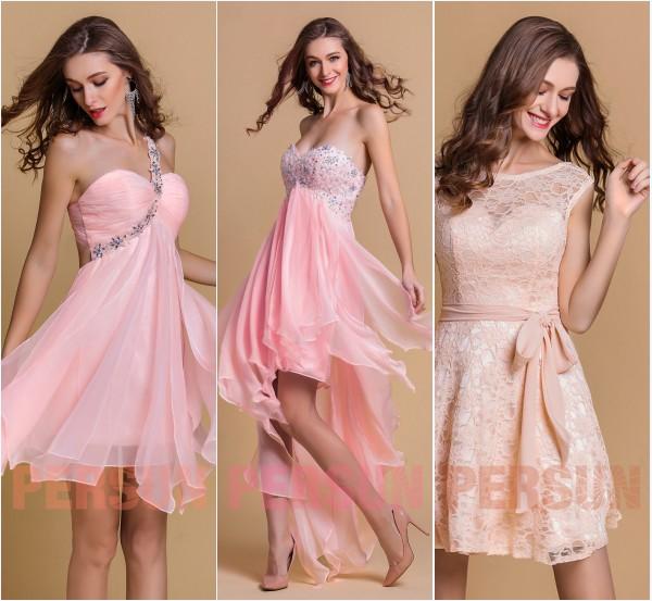 Robes de soirée roses courtes