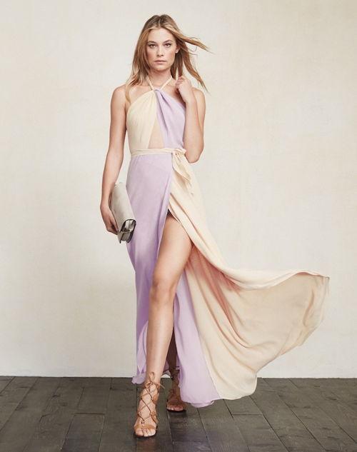 robe de soirée bicolore fendue
